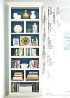 billy bookcase in bedroom Ikea. Ikea bookshelfs with trim, crown and/or baseboards. Bookcase Makeover, Furniture Makeover, Diy Furniture, Garden Furniture, Library Furniture, Bookshelf Styling, Primitive Furniture, Modular Furniture, Furniture Logo