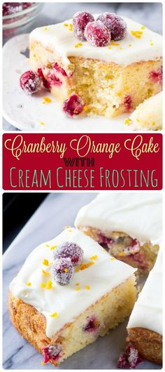This cranberry orange cake with cream cheese frosting is bursting with holiday flavors. Perfectly moist with the softest cake crumb - the combination of sweet oranges and tart cranberries makes it perfect for Christmas. via @ohsweetbasil