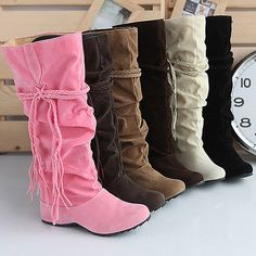 f1fe4541ce61 Inside High Heel Flat Women s Boots Six Colors Knee High Boots