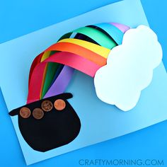 Make a 3D over the rainbow st patricks day craft for kids.