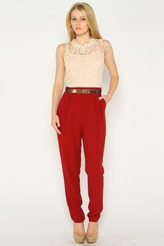 ***Jumpsuit*** Floral lace jumpsuit with gold belt on waist and pearl detailing on neckline.