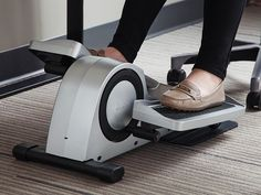 Pedal through the day—at work. Quiet, lightweight, and Bluetooth-connected, this mini elliptical packs a lot into a machine that fits under your desk.