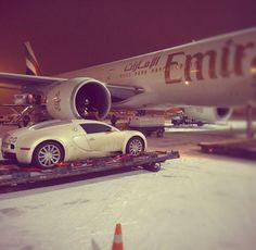 Bring the Bugatti with us. Dubai, Rich Lifestyle, Luxury Lifestyle, Bugatti, Lamborghini, Emirates Airline, Billionaire Lifestyle, Luxe Life, Car Lights