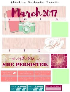 Free Printable March 2017 Monthly Planner Stickers {PDF and Studio3 Files} from Sticker Addicts Anonymous