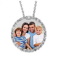 """Circle of Life"" laser engraved photo necklace (diamond or CZ)"