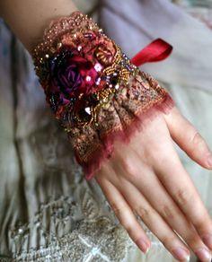 Bolero delicate romantic wrist cuff antique laces by FleurBonheur