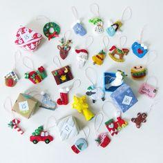 24 mini felt ornament patterns