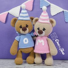 Mia and Owen the Birthday Bears Amigurumi Crochet Pattern by One and Two Company