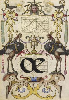 Joris Hoefnagel (illuminator)  [Flemish / Hungarian, 1542 - 1600],                              Guide for Constructing the Ligature oe,                              Flemish and Hungarian, about 1591 - 1596