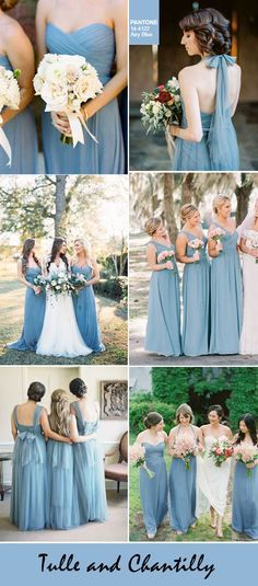 pantone fall colors-romantic airy blue bridesmaid dresses colors