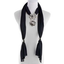 J Francis - 100% Polyester Black Scarf - Glass Rosette Charm 64x16 in. FREE SHIP In Stock • $9