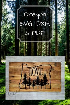 State of Oregon with trees Craft Tutorials, Craft Projects, Diy Blanket Ladder, Cricut, State Of Oregon, State Outline, Cut Image, That Way, Diy Tutorial