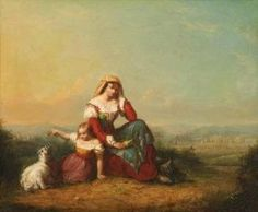 WILLIAM SANFORD MASON (American, 1824-1864). MOTHER, DAUGHTER AND GOAT IN ITALIANATE LANDSCAPE, signed and dated 1859 lower left. Oil on canvas - 14 1/4 in. x 17 1/4 in.