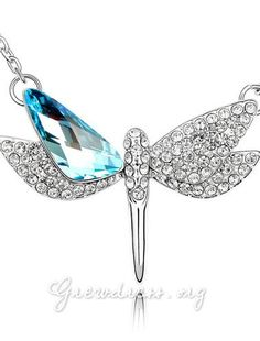 wholesale dragonfly jewelry | Crystal Flying Dragonfly Necklace
