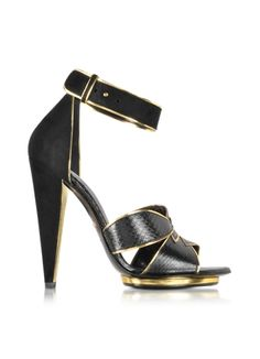 Roberto Cavalli Angel Black Ayers Leather and Suede Sandal