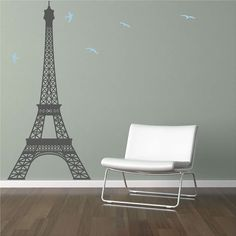 Large Eiffel Tower Vinyl Wall Decal by Vinyltastic on Etsy, $35.00 - 4 ft tall, 22in wide for $35 -- could get 7ft for $60. Wall between closet and door?