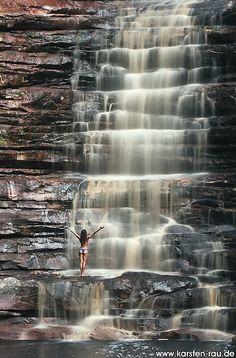 Poço Azul. Waterfall near the Chapada das Mesas. National Park, Brazil www.weighmyrack.com