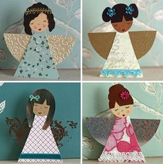"paper angels.....peach may like this ""paper doll"" idea if i cut out all the pieces first."