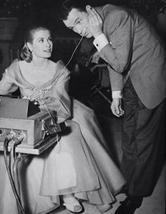 """unforgettable-angels: """" Grace Kelly and Frank Sinatra on the set of High Society """""""