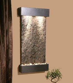 Interior Waterfall from Adagio Collection - Stainless Steel and Rustic Copper indoor waterfalls Indoor Water Fountains, Indoor Fountain, Wall Fountains, Copper Interior, Indoor Waterfall, Waterfall Features, Waterfall Design, Dining Room Walls, Living Room