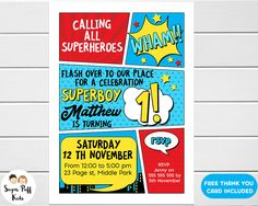 Free superhero invitation maker invitation pinterest boys superhero 1st birthday invitation superhero 1st birthday invitation for boy boys superhero 1st birthday invitation by sugarpuffkids on etsy stopboris Images