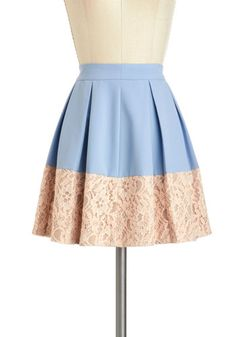 Sky-Hyacinth Skirt - Blue, Tan / Cream, Solid, Lace, Pleats, Work, Daytime Party, Vintage Inspired, A-line, Short