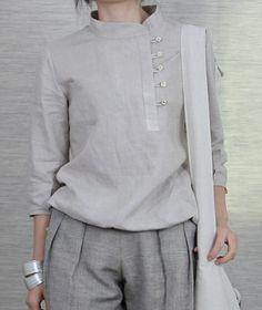 Side Buttons Round Collar Linen Shirt