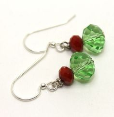 Holiday Green and Red Crystals Earrings | AyaDesigns - Jewelry on ArtFire