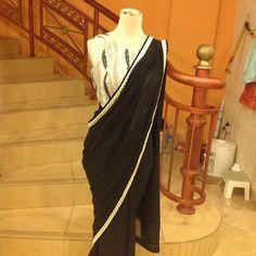 #saree#black#boarder#shiffon#simple#elegant#lace-blouse#embroidered#swarozkies#bollywood#desi-style#