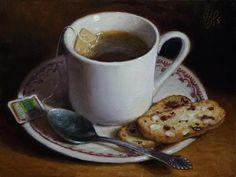 "Daily Paintworks - ""Tea and Biscotti"" - Original Fine Art for Sale - © Debra Becks Cooper Realistic Oil Painting, Food Painting, Tea Bag Art, Tea Art, Painting Still Life, Still Life Art, Biscotti, Fun Cup, Fine Art Gallery"