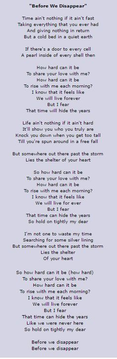 Before we disappear Chris Cornell Lyrics This song makes me cry...SO beautiful ad true...but it hurts
