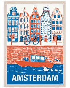 Called by numerous as Holland, the city of Amsterdam is the most checked out center in the Netherlands. Recent stats have shown that more than million tourists are coming to go to Amsterdam per year. Hirsch Illustration, Travel Illustration, Digital Illustration, Illustrations Vintage, Illustrations And Posters, Tourism Poster, Poster Design, Design Art, Design Ideas