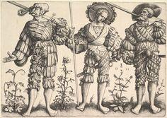 Три немецких солдата. Автор: Даниэль Хопфер (Daniel Hopfer, 1471 – 1536); на основе гравюр Эрхарда Шёна (Erhard Schön, 1491 – 1542) и Зибальда Бехама (Sebald Beham, 1500 – 1550). Время создания: не установлено. Техника: офорт. Размеры листа: 20×28,3 см. Метрополитен-музей искусств, Нью-Йорк, США