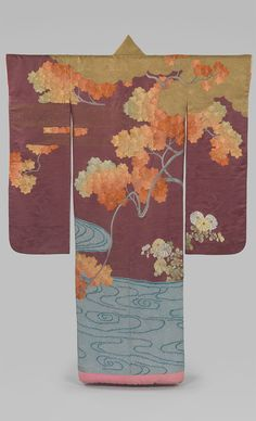 Outer Robe (Uchikake) with Maple Tree and River. Shōwa period (1926–1989). The colorful leaves of a maple tree with a river beneath its branches are no doubt an allusion to Tatsuta River, flows in Nara prefecture, which is famous in classical literature as a place for viewing autumn leaves. The image of a bright brocade of fallen maple leaves floating on the surface of the river became a symbol of the autumn season. Chrysanthemums are also depicted the representative seasonal flower.