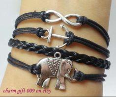 Elephants bracelet infinity anchor bracelet  the by Charmgift009, $4.99