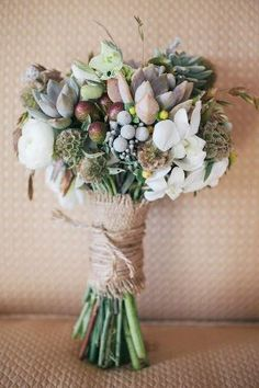 Grey & white bouquet with succulents