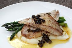 Tarakihi with caper butter sauce and parsnip puree
