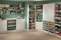 I so need all these cabinets, shelves an especially the wrapping station!