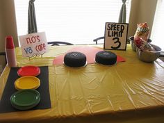 I like the red/yellow/green light plates for Riley's Monster Truck party