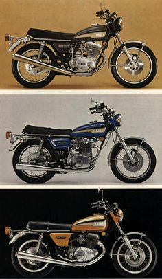 Vintage Motorcycles - Very fine 1973 Yamaha TX range brochure, focusing on (supposed)TX touring abilities. Some nice pics ( a remarkable pre-hipster bearded captain on the cover). Please notice the last page pics: a red… Yamaha 650, Yamaha Motorcycles, Japanese Motorcycle, Motorcycle Style, Classic Motors, Classic Bikes, Custom Bobber, Custom Bikes, Vintage Bikes