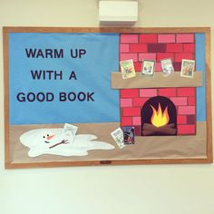 """Winter bulletin board for the Pickens county library. """"Warm up with a good book"""" Winter bulletin board for the Pickens county library. Warm up with a good book Christmas Bulletin Boards, Reading Bulletin Boards, Winter Bulletin Boards, Preschool Bulletin Boards, Bulletin Board Display, Library Themes, Library Book Displays, Library Ideas, Library Boards"""