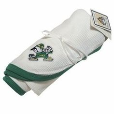 cfb2efbe666d NCAA Notre Dame Kelly Green and White Thermal Baby Blanket with Embroidered Fighting  Irish Logo by