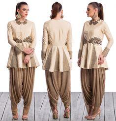 Ridhima Bhasin - Ivory Jacket & Gold Dhoti