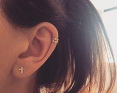 Simple oído de tendencia 9ct oro brazalete de oído ct 9 abrigo / oído llano chaqueta 9k también en hélice de oro rosa