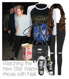 """""""REQUESTED: Watching the new Star Wars movie with Niall"""" by style-with-one-direction ❤ liked on Polyvore featuring Topshop, Marc by Marc Jacobs, Victoria's Secret, OneDirection, 1d, NiallHoran and niall horan one direction 1d"""