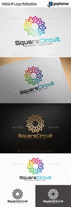 Square Circuit Logo: Abstract Logo Design Template created by initial-P. Circle Logo Design, Circle Logos, Best Logo Design, Business Logo Design, Logo Design Template, Logo Templates, Branding Design, Graphic Design, Brand Book