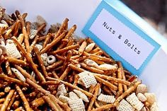 nuts and bolts - make w pretzels, fruit loops, and colorful treats