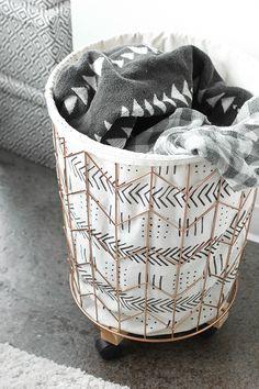 DIY: Mudcloth Print Cotton Canvas & Wire Hamper