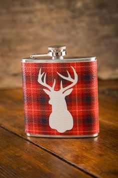 New! Red Plaid Deer Hip Flask on BourbonandBoots.com gift idea.