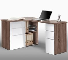 Stunning Home Office Corner Desk With A Top Panel The Unit Offers Six Drawers On Metal Runners And Storage Compartments For Box Files